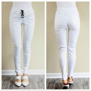 New VENUS Lace Up Skinny Jeans White